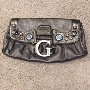Guess gray clutch with hardware decoration